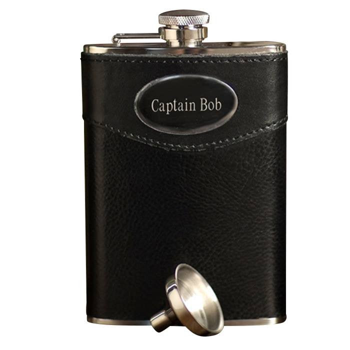 Leather-Wrapped Flask ~ 8oz. - Cece & Me - Home and Gifts