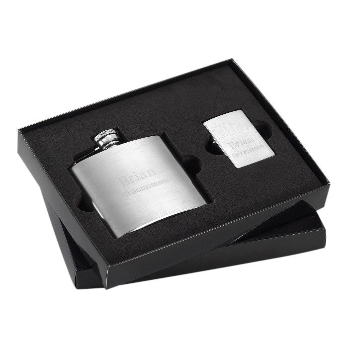 Brushed Flask and Zippo Lighter Gift Set - Cece & Me - Home and Gifts