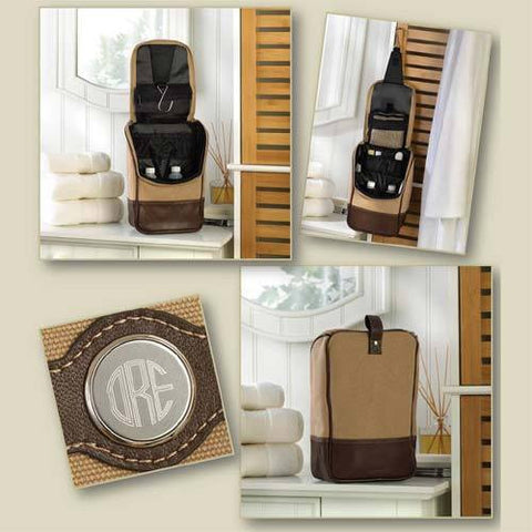 Image of Canvas and Leather Travel Kit - Cece & Me - Home and Gifts