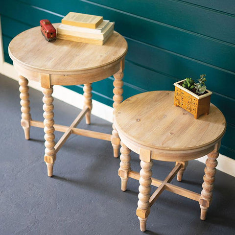 Round Wooden Side Tables With Turned Legs (Set of 2) - Cece & Me - Home and Gifts