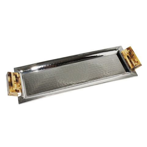 Image of Elegance Rectangular Polished Nickel Tray with Resin Handles - Cece & Me - Home and Gifts