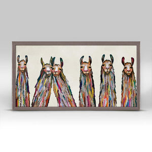 Six Lively Llamas on Cream Mini Framed Canvas - Cece & Me - Home and Gifts
