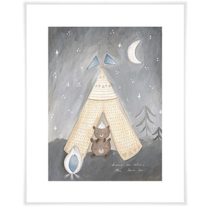 Sleepy Campers Blue Wall Art