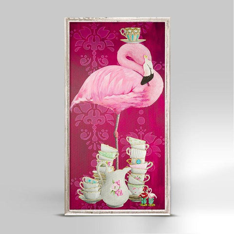 Tea Time Flamingo Mini Framed Canvas - Cece & Me - Home and Gifts