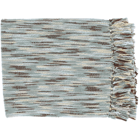 Image of Teegan Throw ~ Pale Blue/Butter/Dark Brown/Aqua - Cece & Me - Home and Gifts