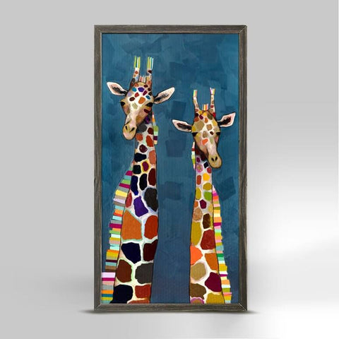 Image of Two Giraffes on Blue Mini Framed Canvas - Cece & Me - Home and Gifts