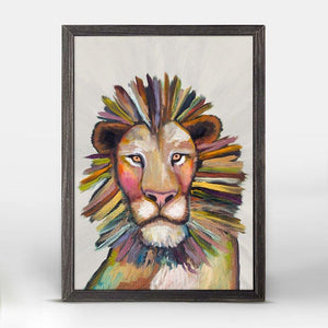 Wild Lion On Cream Mini Framed Canvas - Cece & Me - Home and Gifts