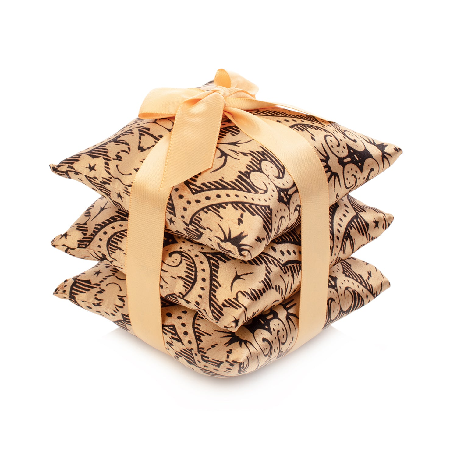 Black Gold Damask Silk Sachet Set
