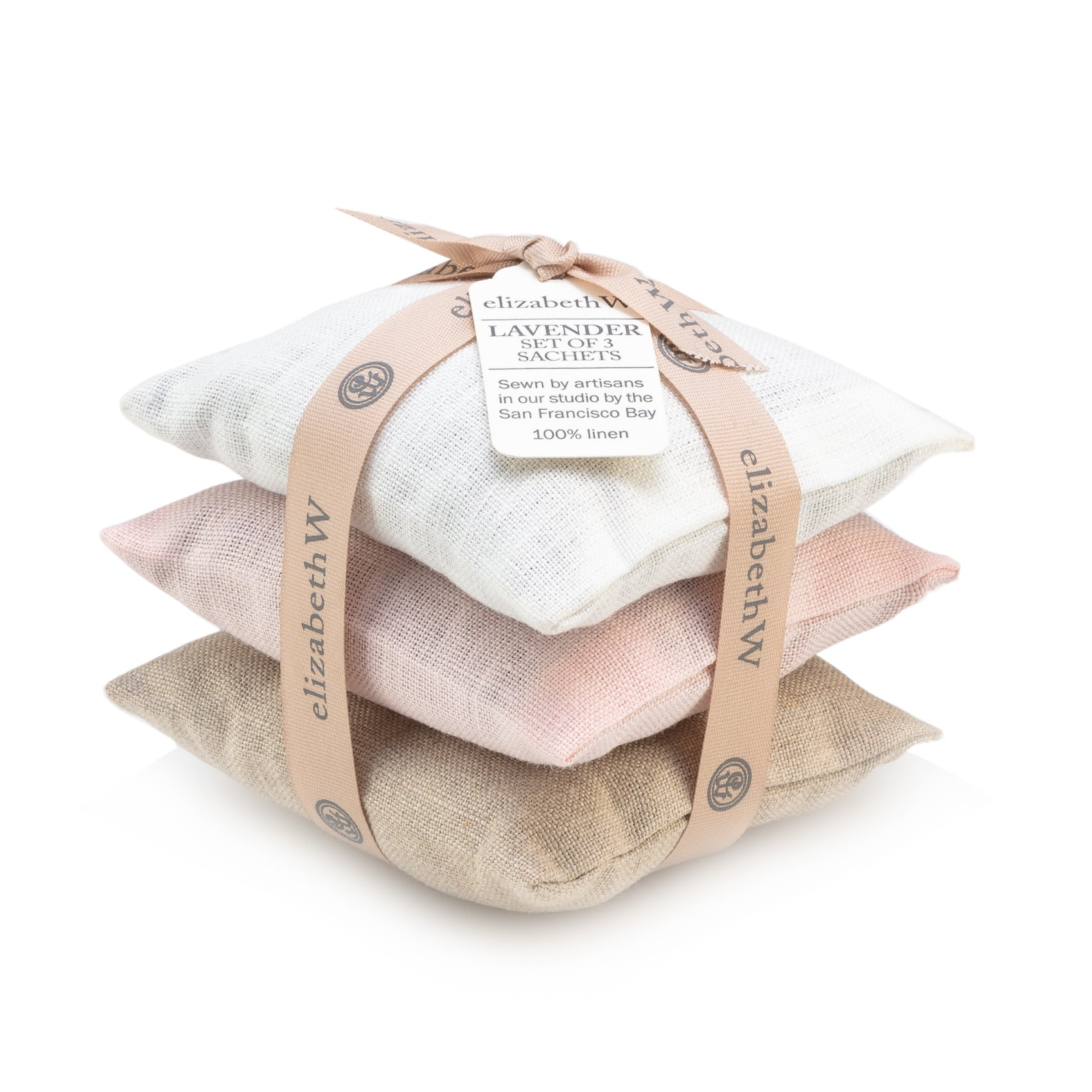 Ivory, Natural, Pink Linen Lavender Sachet Set of 3