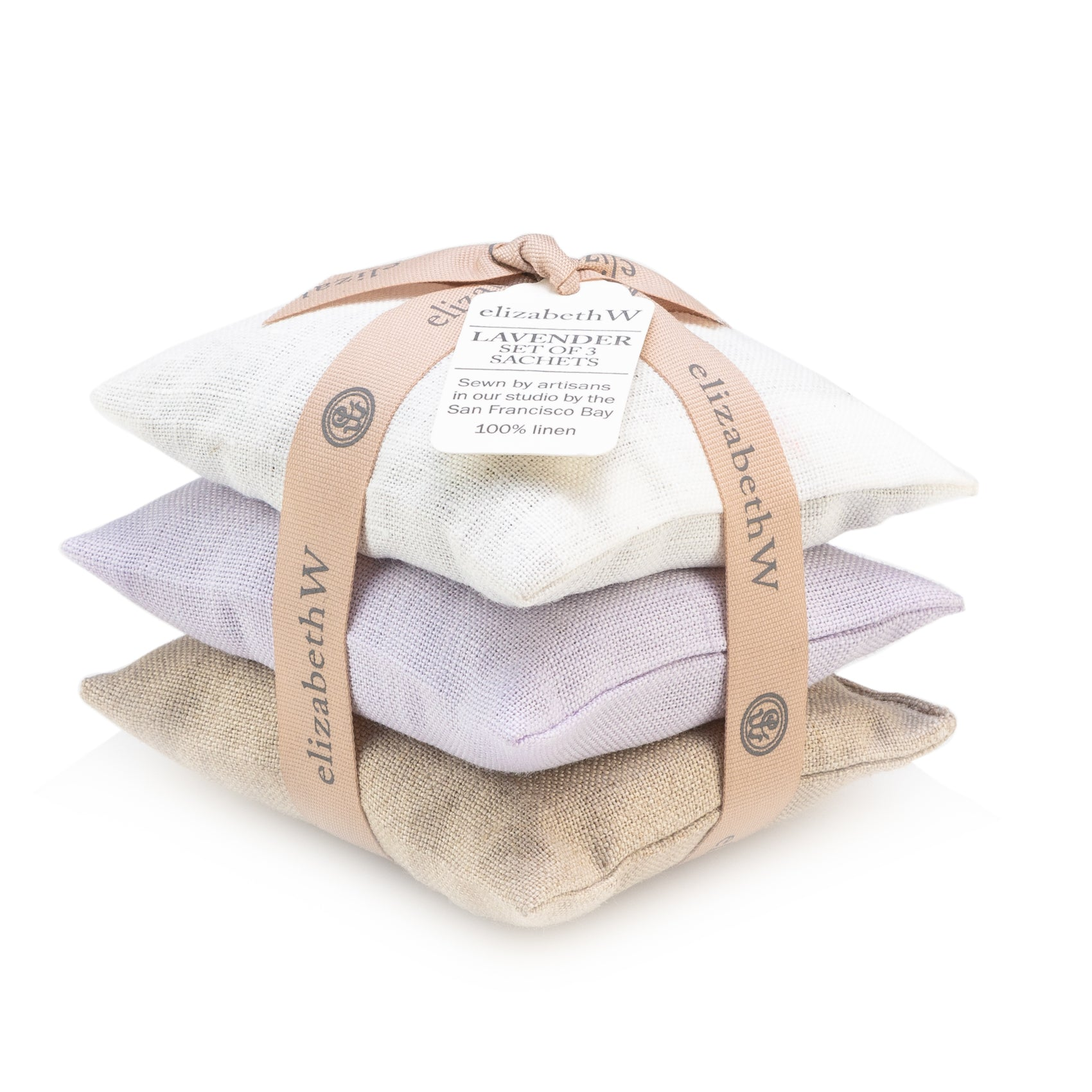 Ivory, Natural, Purple Linen Lavender Sachet Set of 3