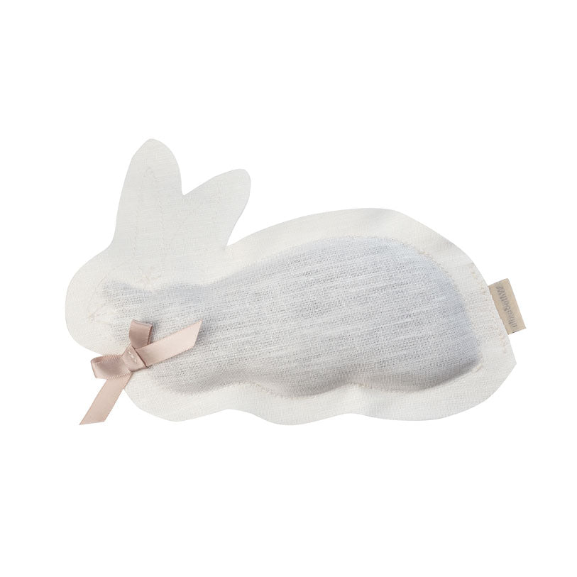 Ivory linen sachet in the shape of a bunny filled with lavender