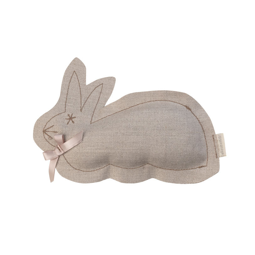 Natural colored linen sachet in the shape of a bunny filled with lavender