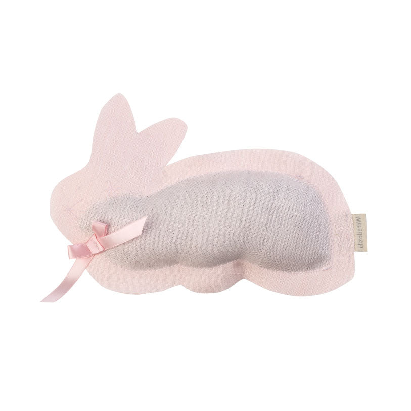 Pink linen sachet in the shape of a bunny filled with lavender