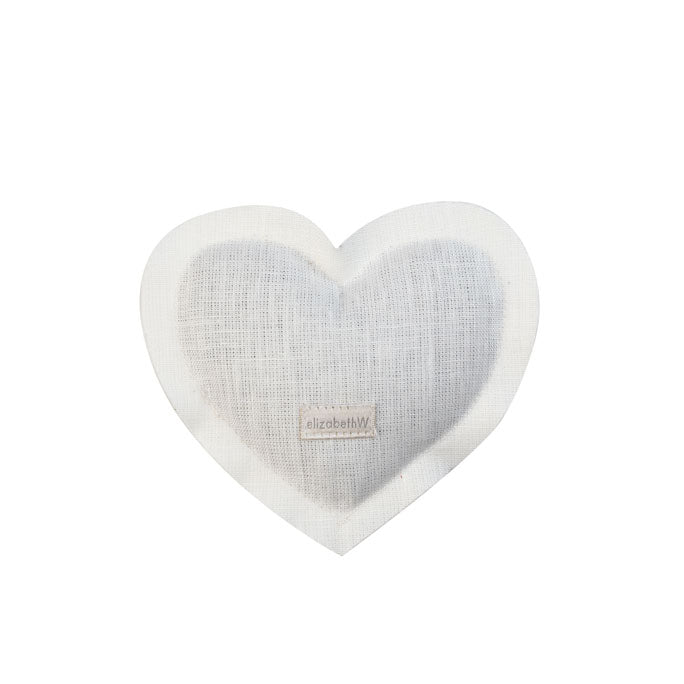 Heart shaped sachet in an ivory linen filled with lavender
