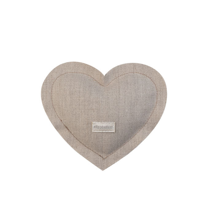 "Heart shaped sachet in a ""natural"" colored linen filled with lavender"