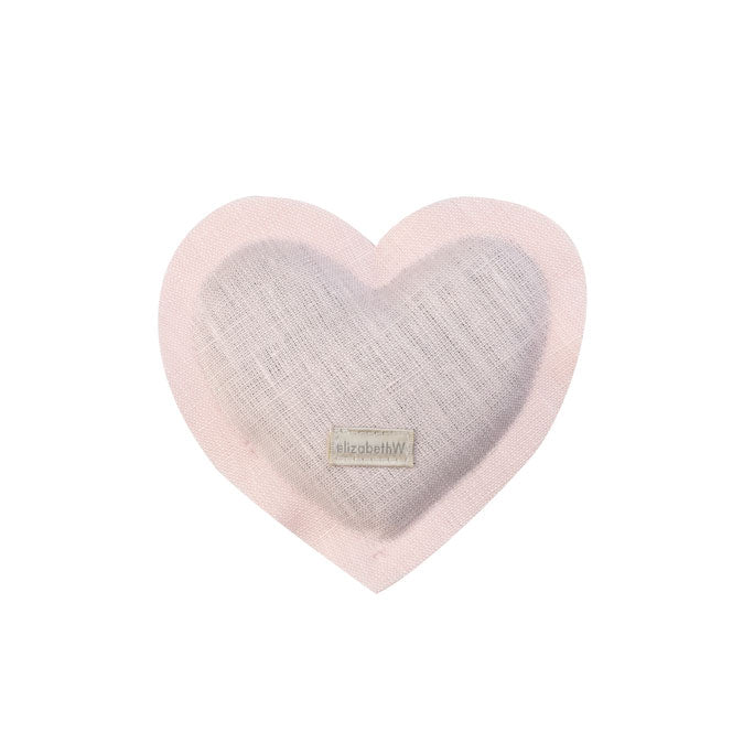 Heart shaped sachet in pink linen filled with lavender