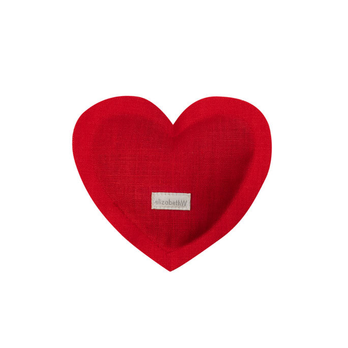 Heart shaped sachet in red linen filled with lavender