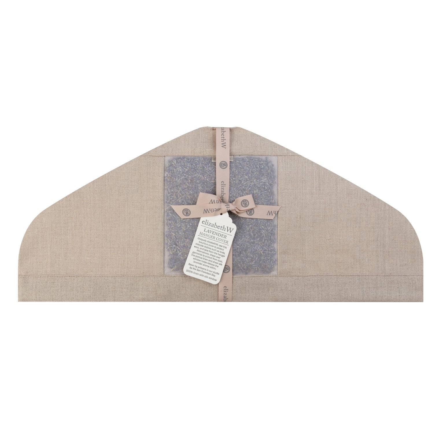 lavender filled in a natural linen hanger cover