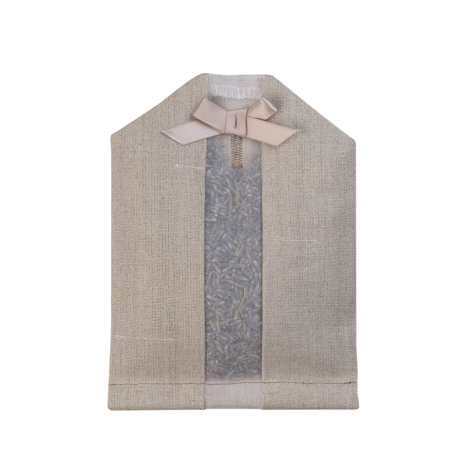 Lavender filled inside of an natural colored linen hanger sachet