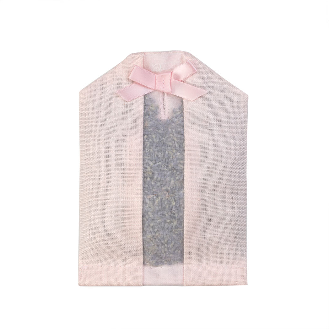 Lavender filled inside of a pink linen hanger sachet