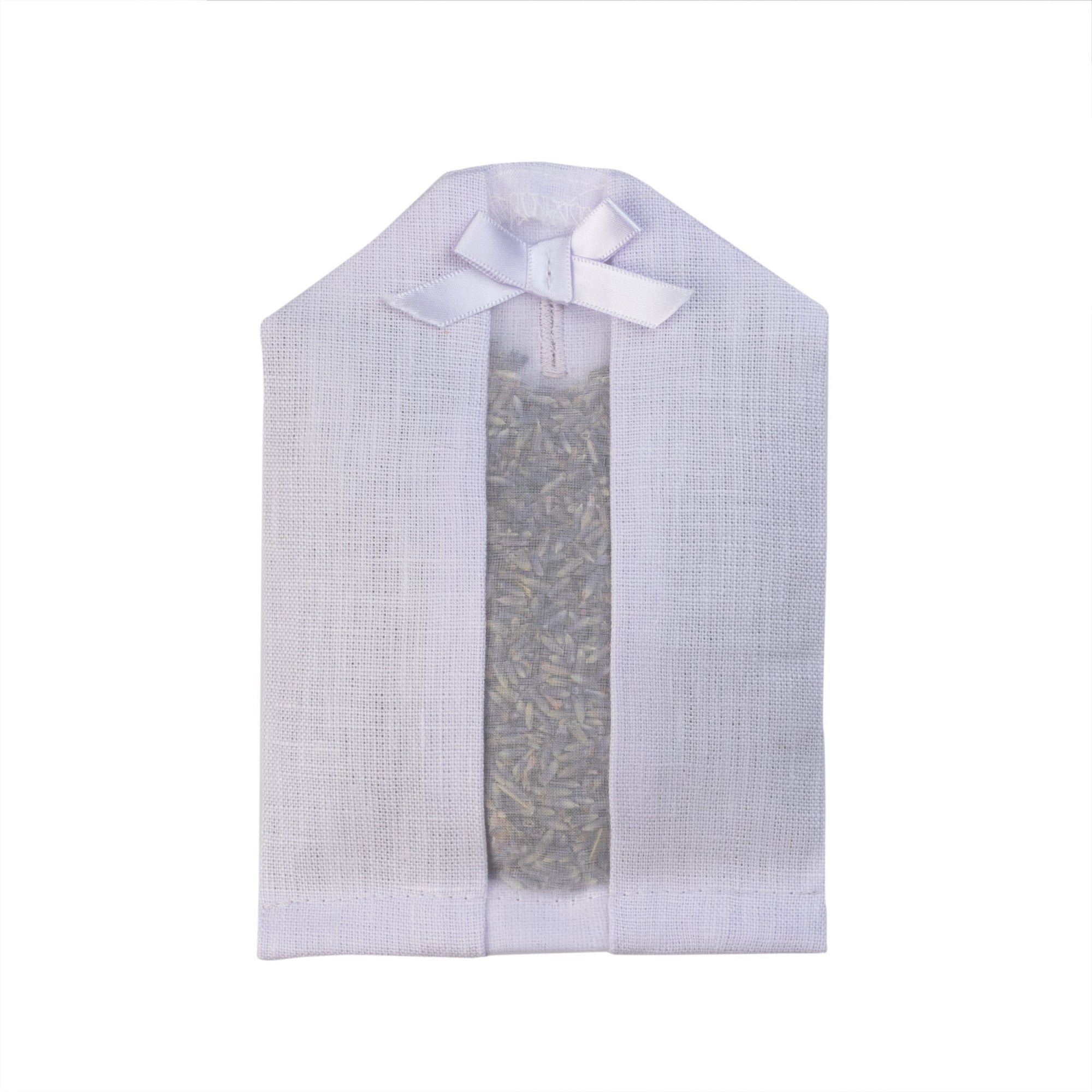 Lavender filled inside of a purple linen hanger sachet