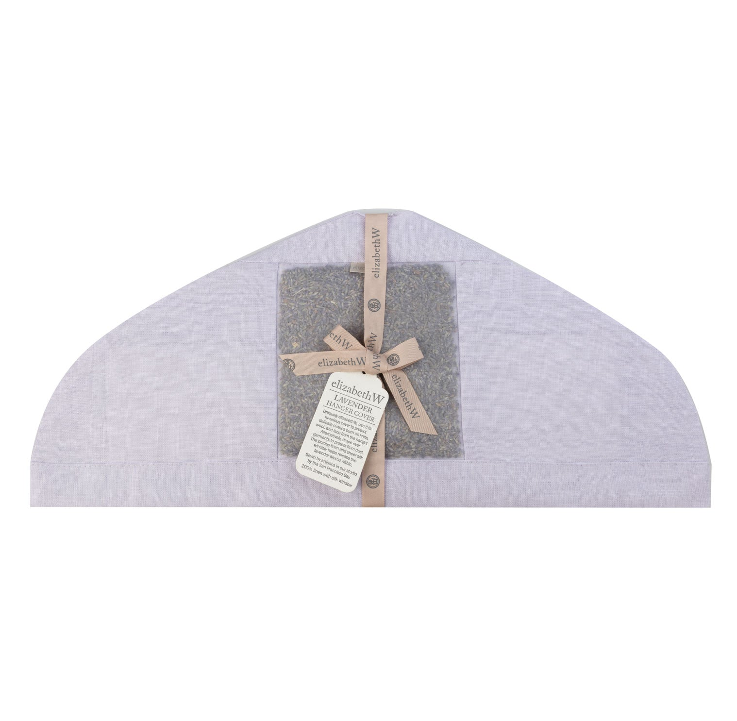 lavender filled in a purple linen hanger cover
