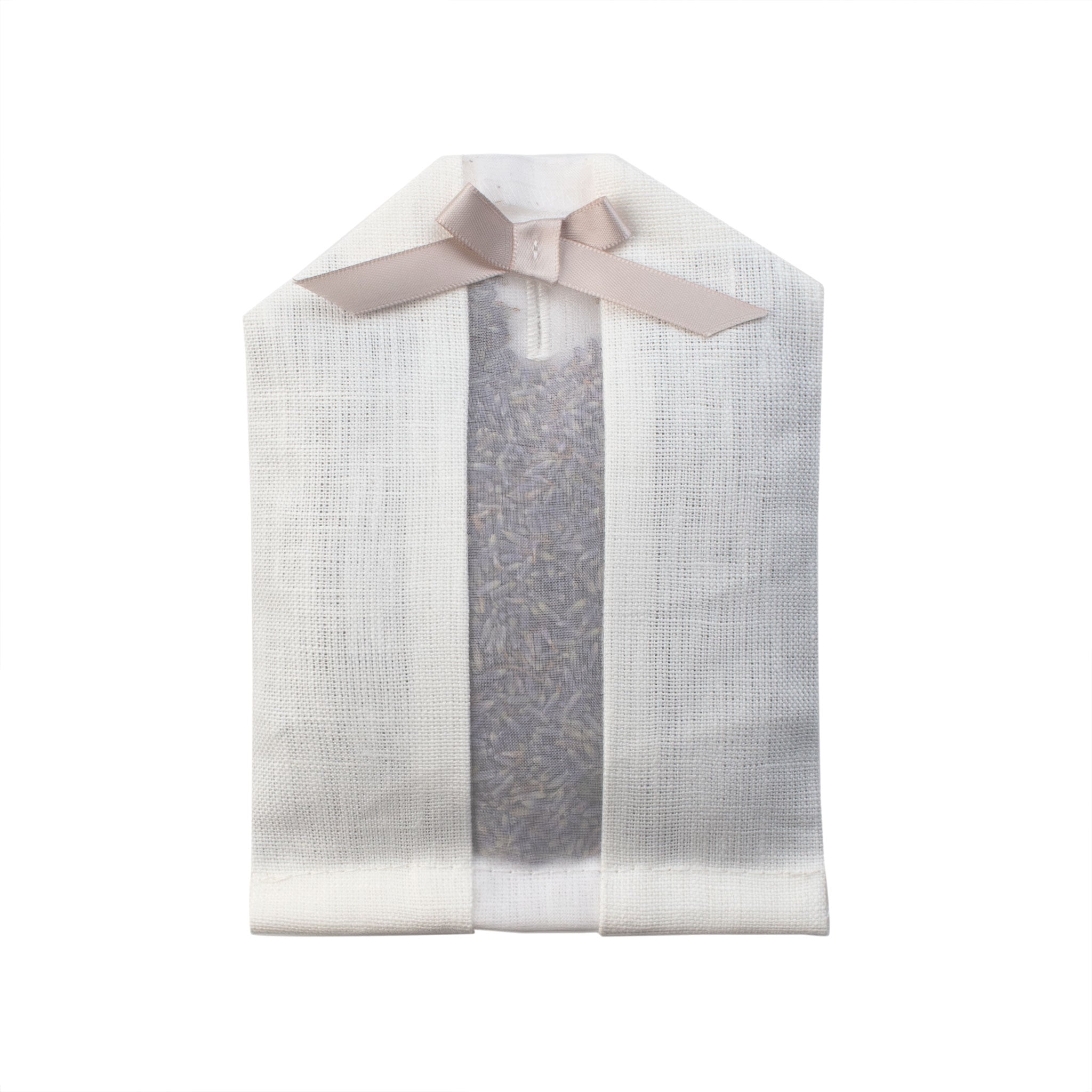 Lavender filled inside of an ivory linen hanger sachet