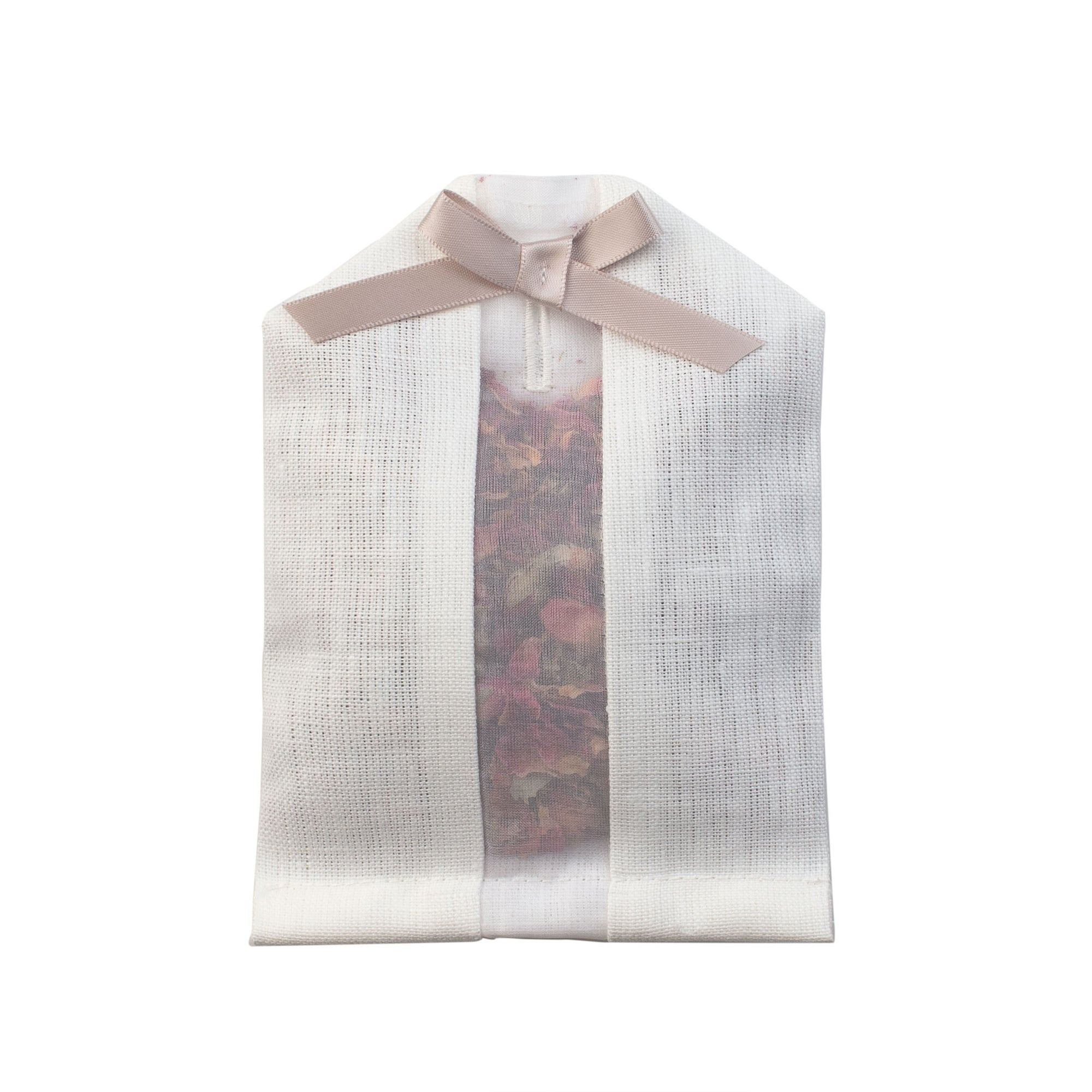 Dried rose petals filled inside of an ivory linen hanger sachet