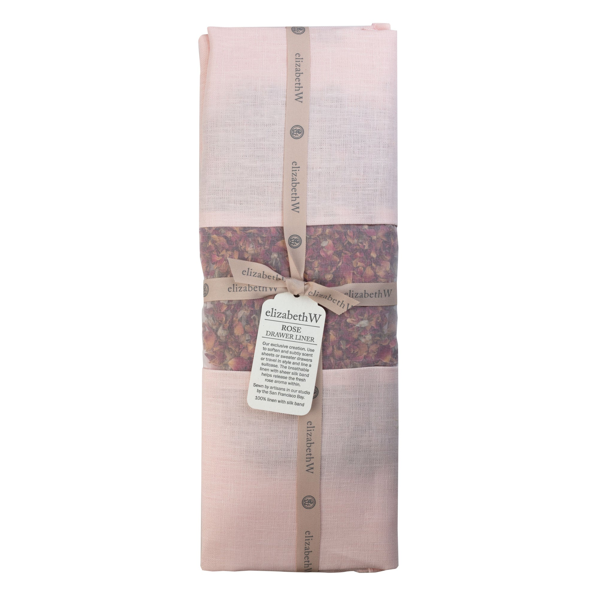 Rose Drawer Liner in a pink colored Linen
