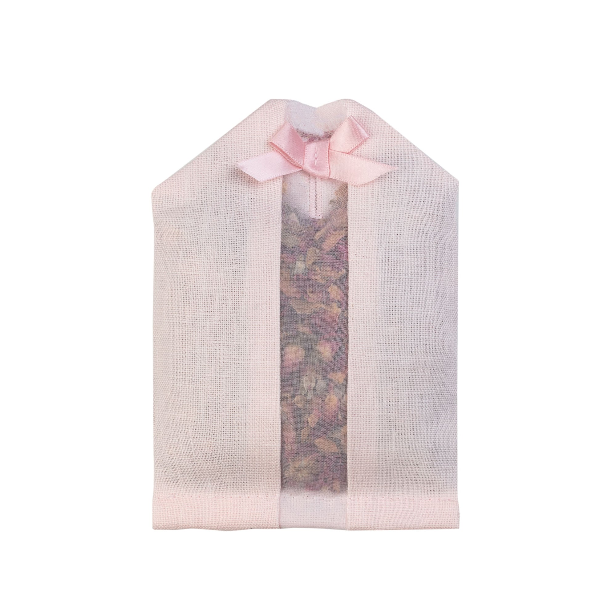 Dried rose petals filled inside of a pink linen hanger sachet