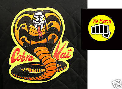 "ORIGINAL Cobra Kai patch set Karate Kid Movie - 11"" Cobra patch & 4"" NO MERCY - Valley Martial Arts Supply"