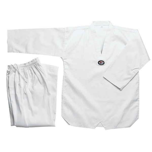 Tae Kwon Do uniform, Bleached White with White-V Neck, 8oz - Valley Martial Arts Supply