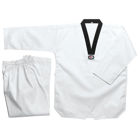 Tae Kwon Do uniform, Bleached White with Black-V Neck, 8oz - Valley Martial Arts Supply
