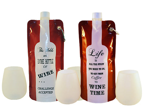 Two portable wine bags and cups