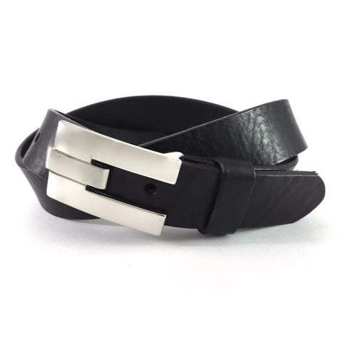 Venice Black Casual Belt Nickel Plated Channel