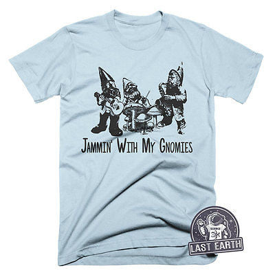 Funny Gnomes T Shirt Jammin With My Gnomies TShirt Funny Vintage Music Tees