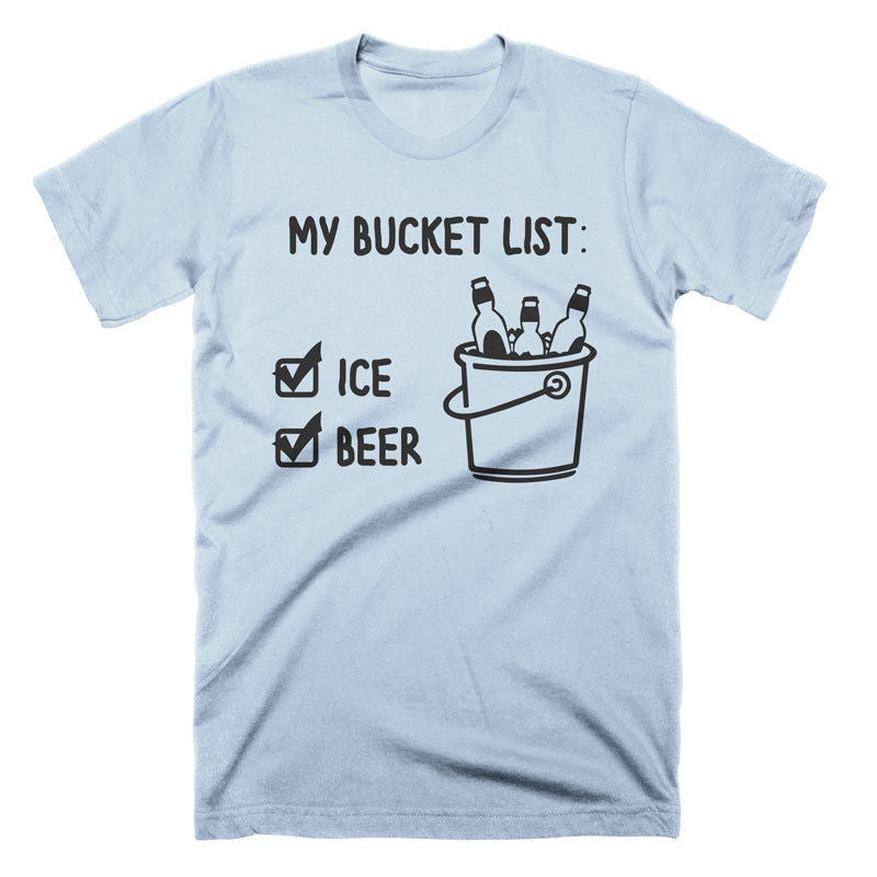 328b1a91fa Funny Beer Shirt Bucket List T Shirt Funny Beer Tees Beach Shirt Party T- Shirt