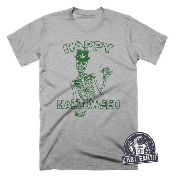 Happy Halloweed T Shirt Funny Halloween Marijuana Tees Skeleton T Shirt Pot Tees
