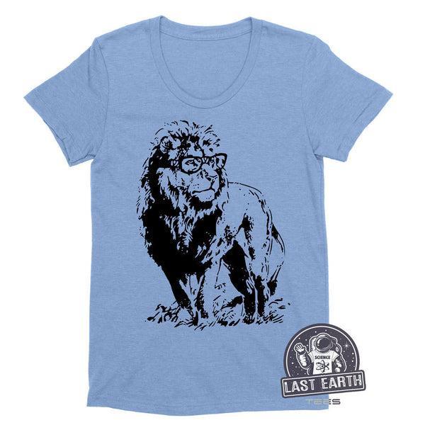 Lion Professor Funny Animal Humor Geeky Geek Nerdy Shirt T-Shirt Gift Idea For Teacher Wife Men Ladies Soft Vintage Tees Present Graduation