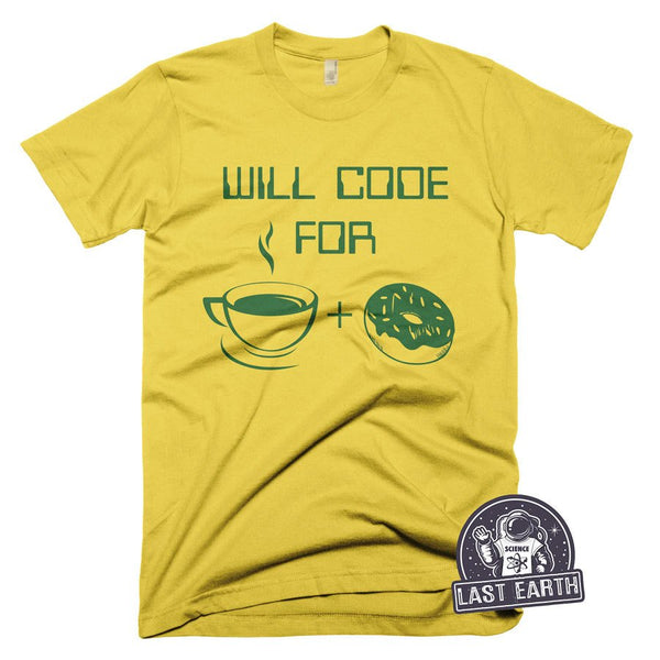 Funny Programmer T Shirt Will Code For Coffee and Donuts T Shirt Funny Code Tees Gifts For Computer Programmers Coffee Tshirt Vintage Tees