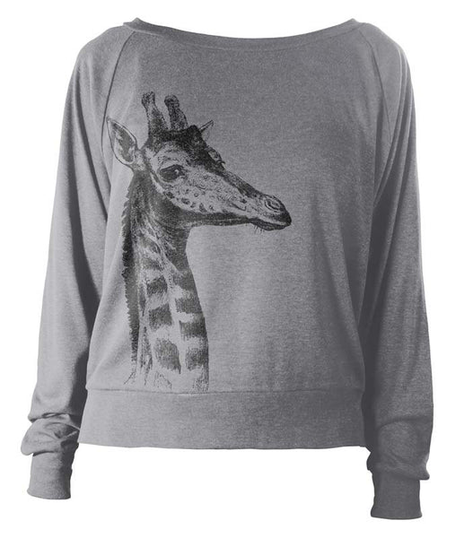 Women's Wideneck Giraffe Tri-Blend Raglan Pullover - American Apparel Pullover - Soft Vintage Feel Light Weight Long Sleeve Tshirt - Gift