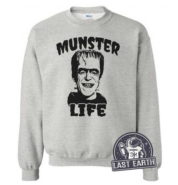 Munster Life Sweatshirt Frankenstein Monster Sweater Vintage Halloween Gift Ideas Shirt Thug Life Herman Munster Funny Sweaters Mens Womens