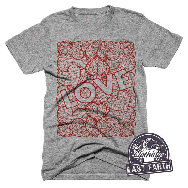 Hearts of Love T-Shirt Valentines Day Art Tri Blend Tshirt Mens Womens Love Shirt Gifts For Her Decorative Heart Shirt Love Tee Shirts