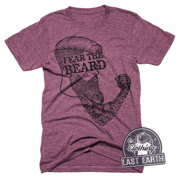 Fear The Beard T-Shirt Bearded Fist Shirt Mens Beard Shirt Funny Beard Tees Vintage Tee Shirt Punch Shirt Lumberjack T-Shirt Gifts For Him