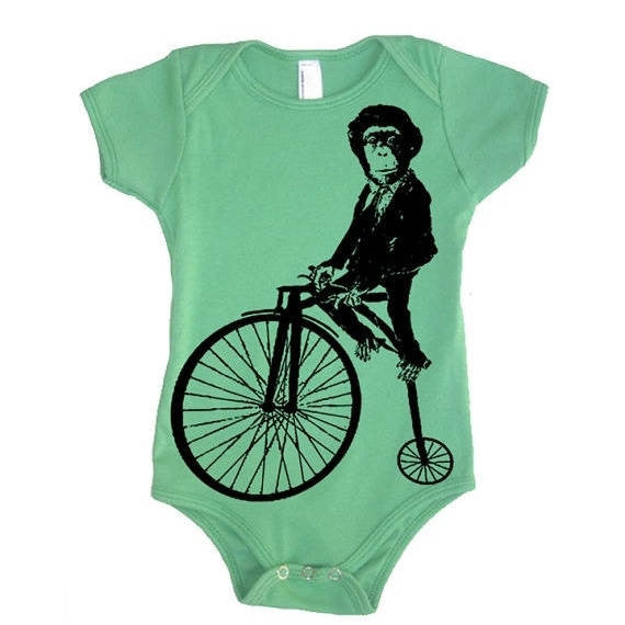 Circus Monkey On A Bike Bodysuit - American Apparel One Piece - Baby Shower Gift Ideas Present For New Mom New Born Baby Babies