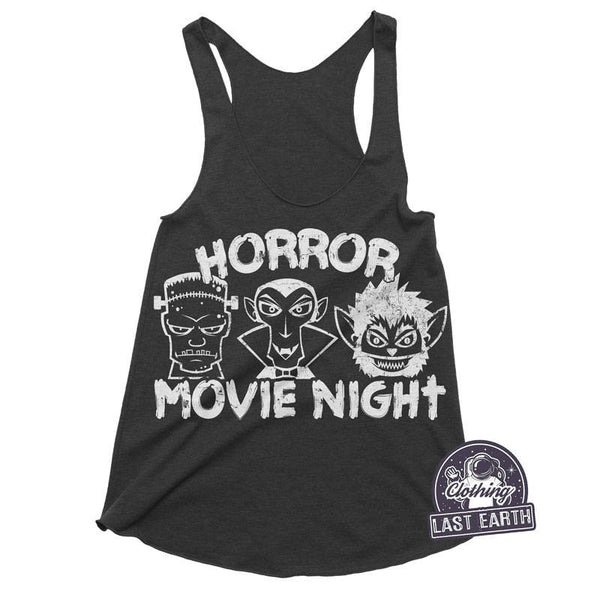 Horror Movie Night Racerback Tank | Horror Movie Shirt | Womens Halloween Shirt | Running Tank | Womens Tank Tops | Movie Gifts Graphic Tee