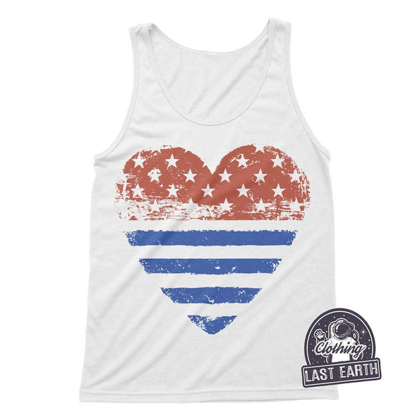 American Heart Tank Top | 4th Of July Shirt | Women Graphic Tees | American Flag Shirt | Red White and Blue | Patriotic Shirts | Unisex