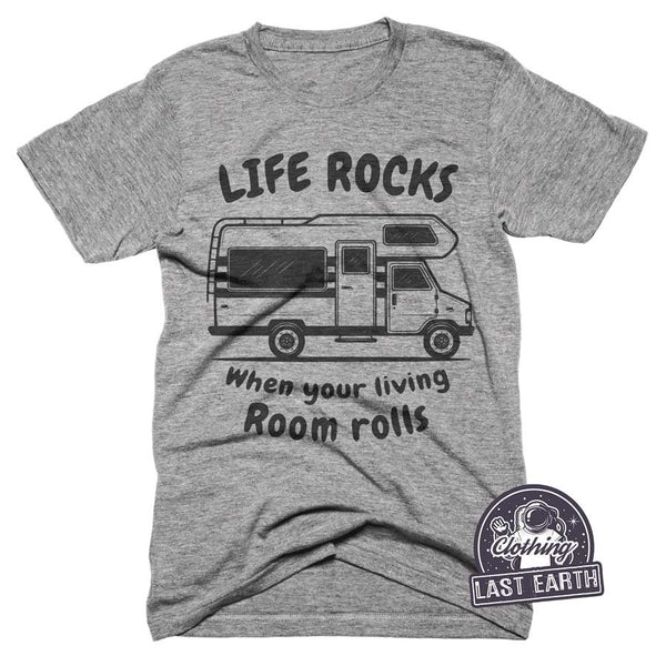 Funny Camping Shirt, Life Rocks T-Shirt, Camping Gifts, Mens, Womens, Tshirts, Travelling Gift, Road Trip Shirt, Travel Gift, Band Shirt