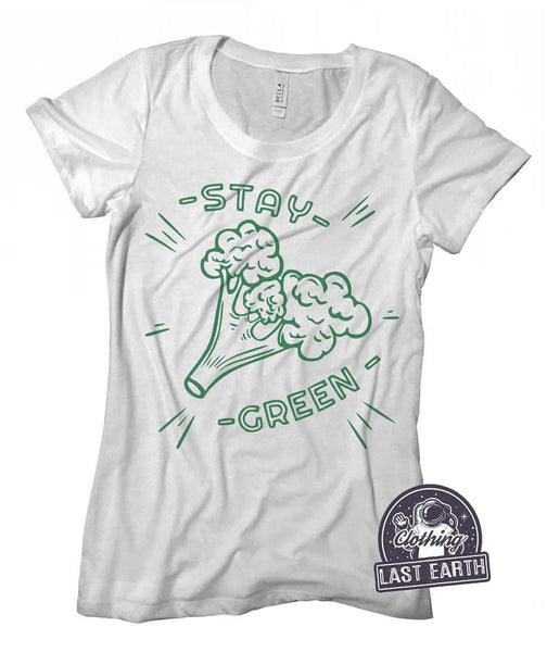 Stay Green Shirt, Broccoli Shirt, Vegetable Shirt, Vegan Shirt, Vegetarian Shirt, St Patricks Day Shirt, Green Shirt Funny Shirts Womens Tee