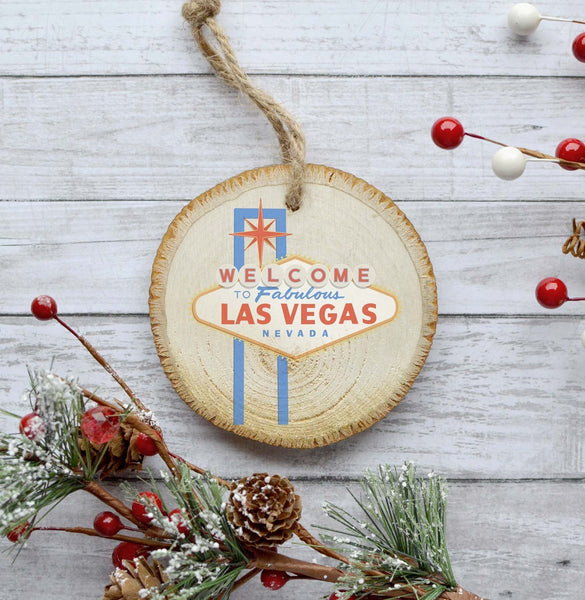 Las Vegas Christmas Ornament, State Ornament, Natural Pine Wood Slice, 2018 Ornament Christmas Tree Decoration, Gift Idea, Woodland Gift